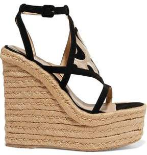 Paloma Barceló Dalì Cutout Embroidered Nubuck Espadrille Wedge Sandals