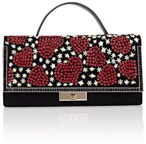 Valentino WOMEN'S BEADED HEART LEATHER CLUTCH