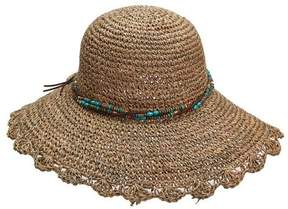 Scala Women's LG28 Crocheted Straw Hat with Bead