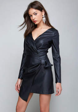 Bebe Faux Leather Wrap Dress