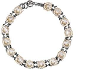 Bottega Veneta gold cubic zirconia oxidized silver bracelet