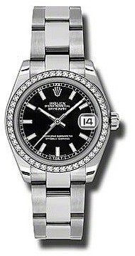Rolex Datejust Lady 31 Black Dial Stainless Steel Oyster Bracelet Automatic Watch