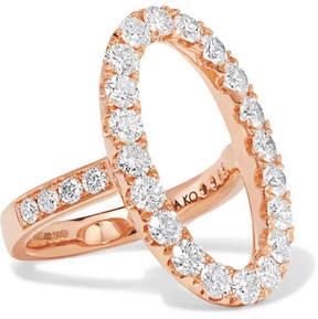 Anita Ko Oval Halo 18-karat Rose Gold Diamond Ring
