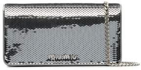 Miu Miu metallic sequin leather wallet on a chain