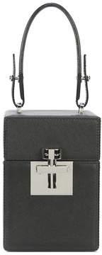 Oscar de la Renta Black Silver Leather Mini Alibi Bag
