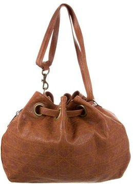 Christian Dior Leather Cannage Drawstring Bag