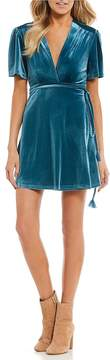Billabong Lush For Life Velvet Deep V-Neck Wrap Dress