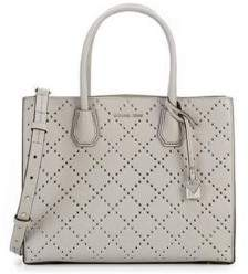 Michael Kors Mercer Grommeted Leather Tote - Grey - 30F7SZ4T3U-081 - AS SHOWN - STYLE