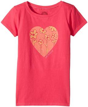 Life is Good Heart Flowers Crusher Tee Girl's T Shirt