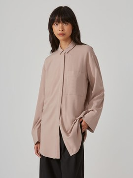 Frank and Oak Classic Fluid Blouse in Bark