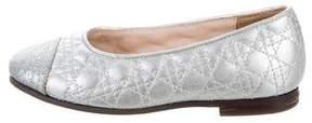 Christian Dior Girls' Metallic Cannage Flats