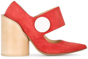 Jacquemus red Les Chaussures Gros Bouton pumps