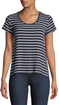 Neiman Marcus Majestic Paris for Soft-Touch Scoop-Neck Short-Sleeve Striped Top