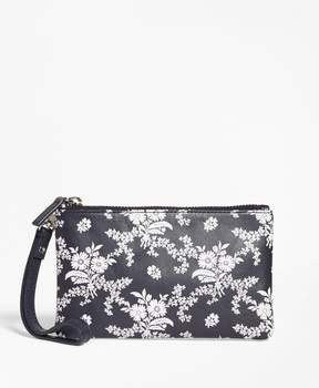 Brooks Brothers Floral-Print Leather Wristlet