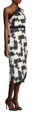 Laundry by Shelli Segal Embroidered One-Shoulder Midi Dress