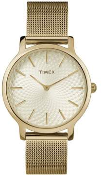 Timex Women's Metropolitan 34mm Gold-Tone Watch, Stainless Steel Mesh Bracelet