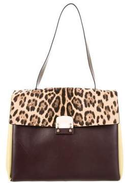 Valentino Ponyhair-Accented Leather Flap Bag