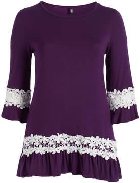 Celeste Purple Floral Lace-Accent Scoop Neck Tunic - Plus