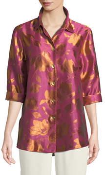 Caroline Rose Summer Social Jacquard Cocktail Shirt, Plus Size