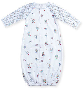 Kissy Kissy First Down Football Print Convertible Sleep Gown, Size Newborn-Small