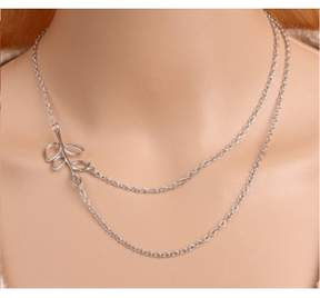 Alpha A A Silver Tone Plated Wrap Around Leaf Necklace Measures 16