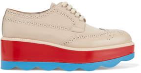 Prada Leather Platform Brogues - Beige