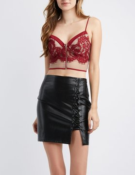 Charlotte Russe Lace & Mesh Bustier