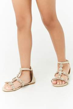 Forever 21 Girls Metallic Floral Gladiator Sandals (Kids)