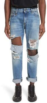 R 13 Sid Distressed Cutoff Straight Leg Jeans