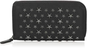 Jimmy Choo CARNABY Black Biker Leather Travel Wallet with Stars