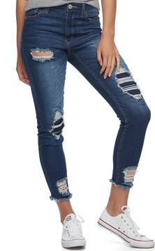 Almost Famous Juniors' Ripped & Repaired Skinny Jeans