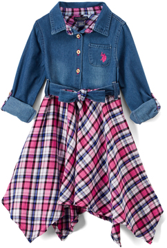 U.S. Polo Assn. Hot Pink & Plaid Tie-Front Handkerchief Dress - Toddler & Girls