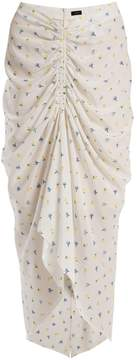 Joseph Floral-print ruched skirt