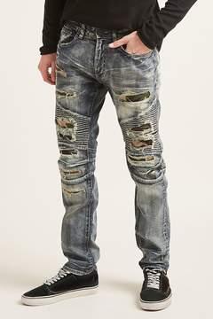 21men 21 MEN Jordan Craig Distressed Moto Jeans