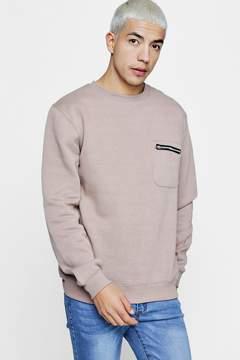 boohoo Zip Pocket Detail Crew Neck Sweater