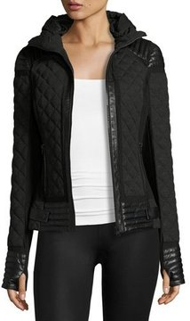 Blanc Noir Leather-Trim Quilted Moto Puffer Jacket, Charcoal Heather