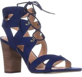 XOXO Barnie Heeled Lace Up Sandals, Blue.