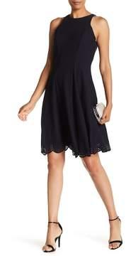 Donna Ricco Laser-Cut Trim Scuba Dress