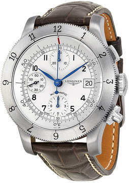 Longines Heritage Collection Chronograph Silver Dial Leather Men Watch L27414732