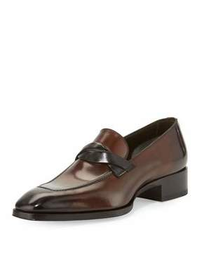 Tom Ford Gianni Twist-Front Leather Loafer, Brown