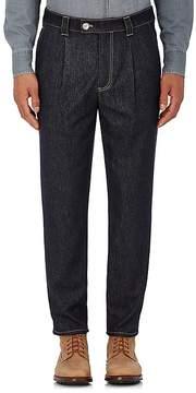 Brunello Cucinelli Men's Wool Denim Pleated Trousers