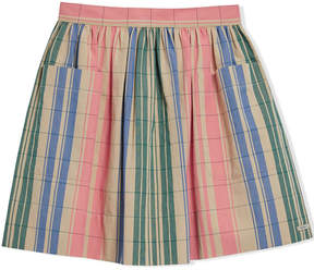 Burberry Check Gathered Cotton Skirt