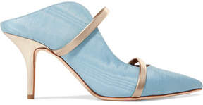 Malone Souliers Maureen Metallic Leather-trimmed Moire Mules - Blue