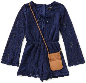 Xtraordinary Big Girls 7-16 Bell-Sleeve Lace Romper