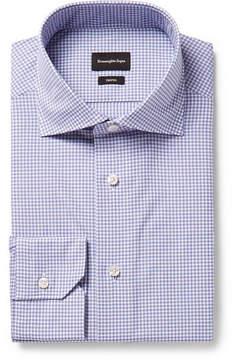Ermenegildo Zegna Trofeo Slim-Fit Cutaway-Collar Checked Cotton-Poplin Shirt
