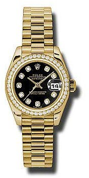 Rolex Lady-Datejust 26 Black Dial 18K Yellow Gold President Automatic Ladies Watch