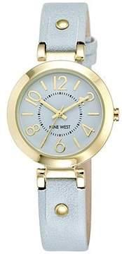 Nine West Women's Light Blue Leather Strap Watch