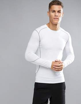 New Look SPORT Stretch Long Sleeve Running Top In White