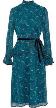 Anna Sui Guipure Lace-Trimmed Printed Chiffon Peplum Dress