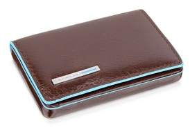 Piquadro Women's Brown Leather Card Holder.